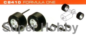 2 stk. hubs & silicon rubber tyres Formel 1.
